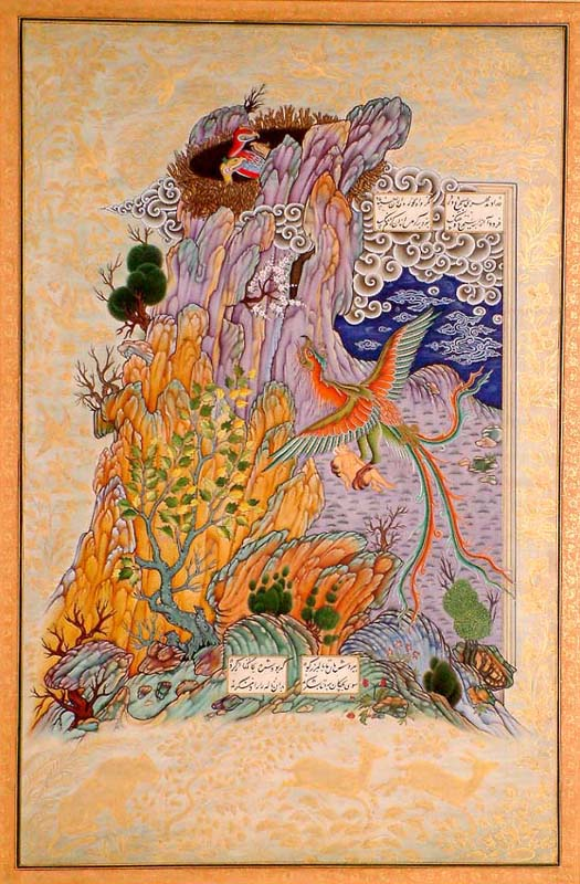 زال و سیمرغ  http://www.exoticindiaart.com/product/paintings/bird-simurgh-takes-white-haired-zal-to-her-nest-in-mountains-from-shahnama-PA97/