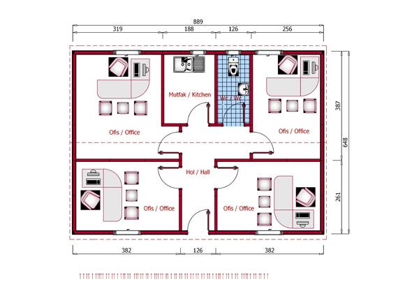 پلان ساختمان های اداری LSF - طراحی و اجرای خانه های پیش ساخته LSFپلان ساختمان های اداری LSF
