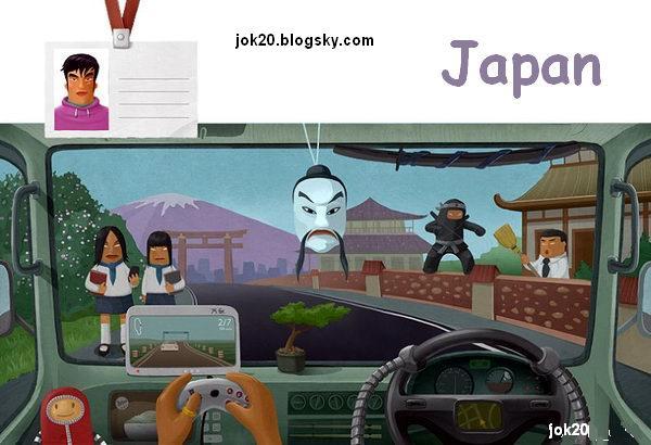 کاریکاتور رانندگی در کشورهای دنیا
