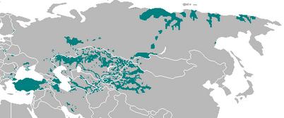 نقشه پراکندگی ترک ها در جهان