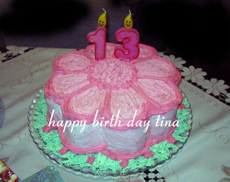 کیک 13 سالگی تینا
