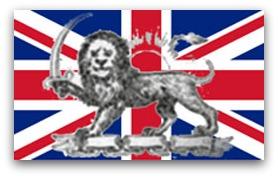 پرچم انگلیس و پرچم شیر و خورشید ایران