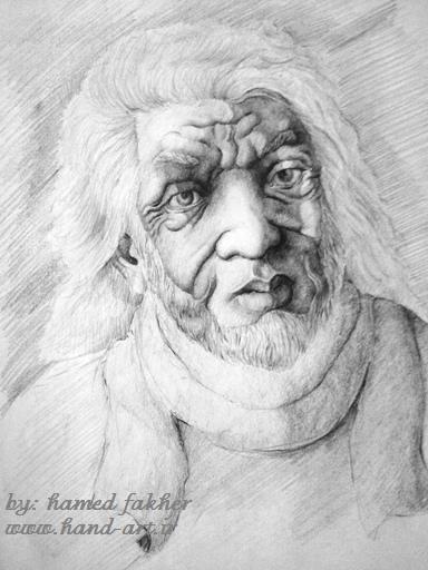 طراحی با مداد سیاه از صورت پیرمرد-تخیلی