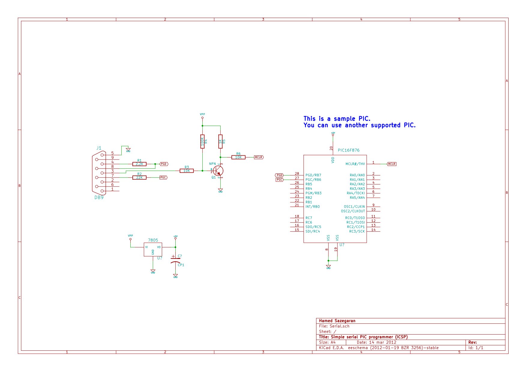 شماتیک پروگرامر سریال برای میکروکنترلرهای PIC
