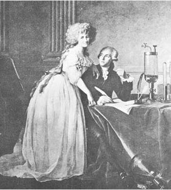 قلم و ابزار نگارش لاوازیه شیمیدان در آزمایشگاه و کنار همسرش در نقاشی