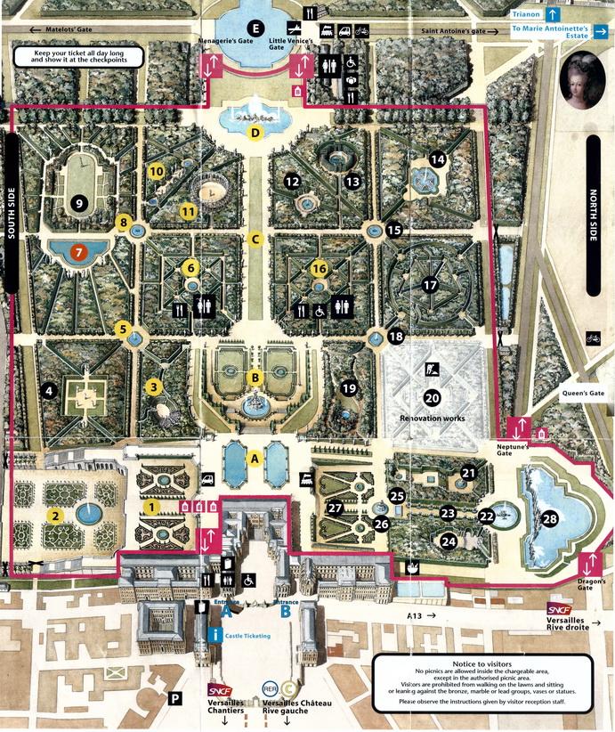 نقشه باغ و کاخ ورسای