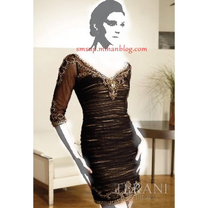 مدل لباس شب کوتاه سنگ دوزی شده