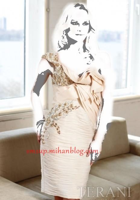مدل لباس شب کوتاه عروس رنگ روشن