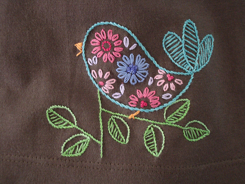 پرنده گلدوزی شده