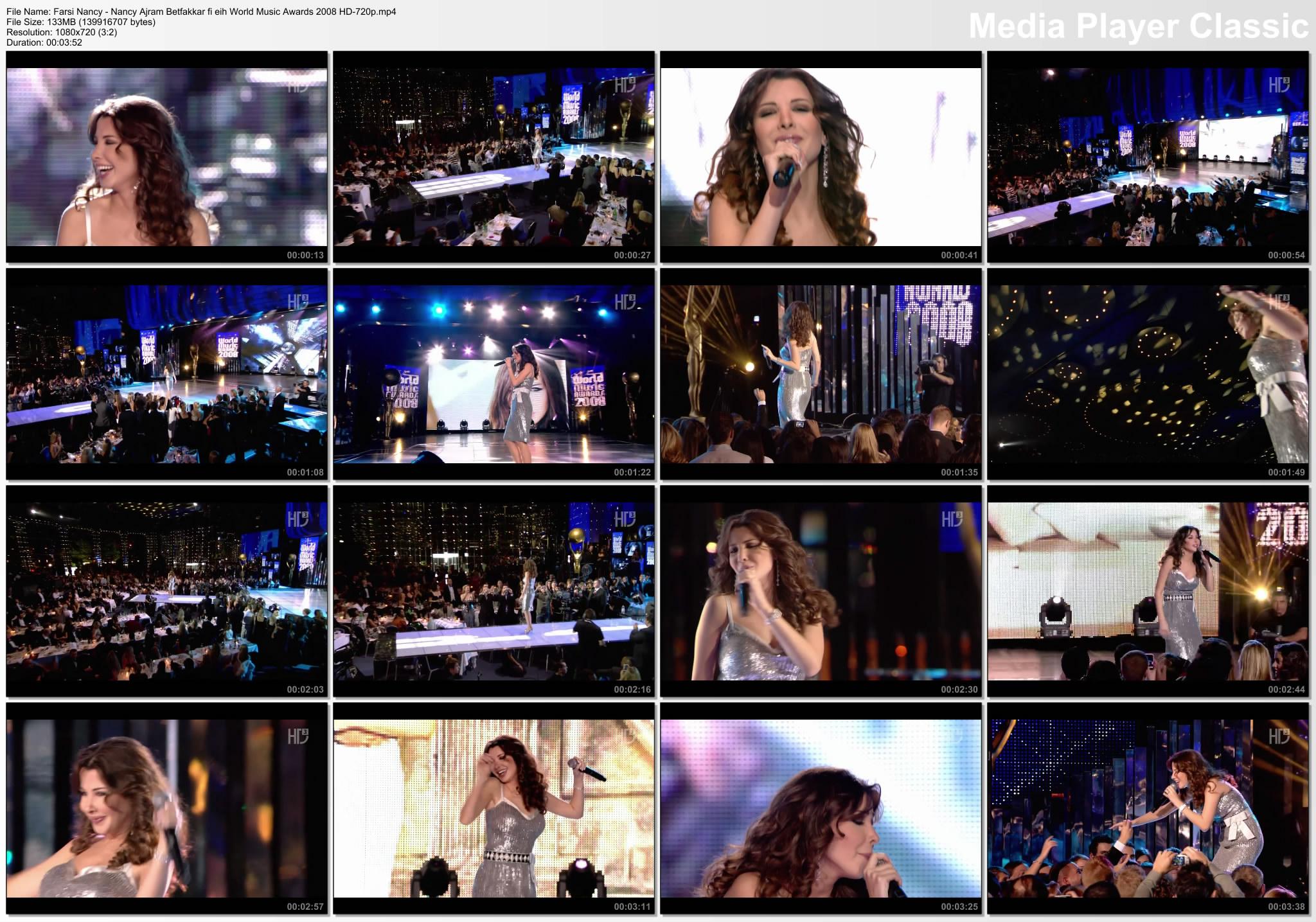 دانلود ویدیو اجرای بتفکر فی ایه نانسی عجرم در World Music Awards 2008 HD 720p
