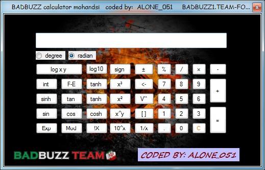 BADBUZZ Engineering Calculator Screen