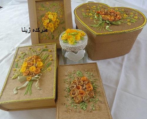 جعبه جواهرات روبان دوزی