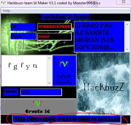 hackbuzz-team id maker v1.1 coded by monster996@n.c Khata4