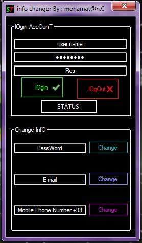Status Changer sarkesh team Screen