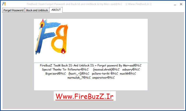 FireBuzZ  unblcok and back id + forget pasword by mer+sad@n.c  Captured