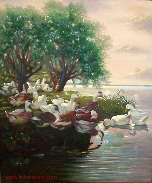 تابلو نقاشی مرغابیها