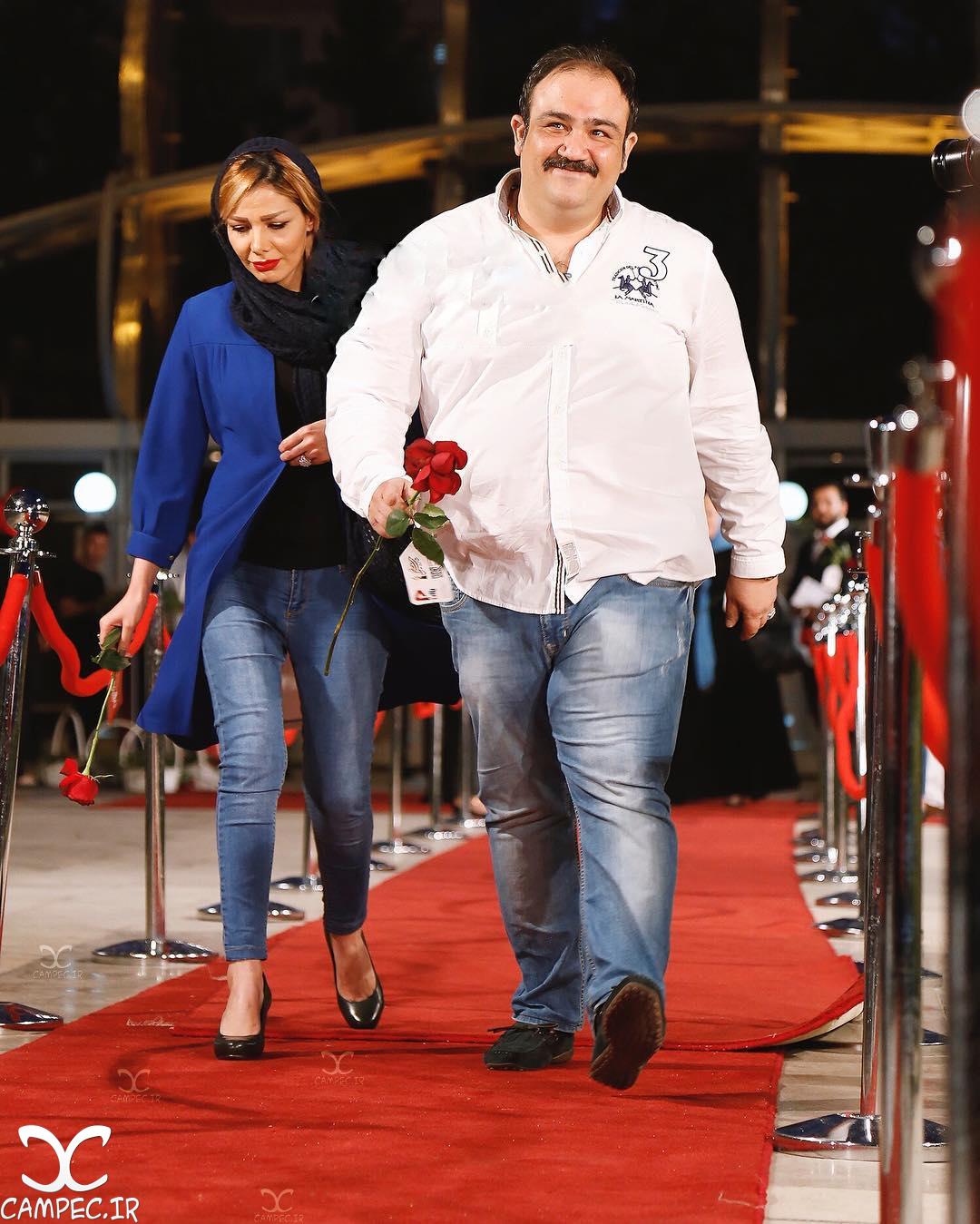 مهران غفوریان با همسرش در جشن حافظ