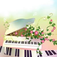 نقاشی پیانو و گل