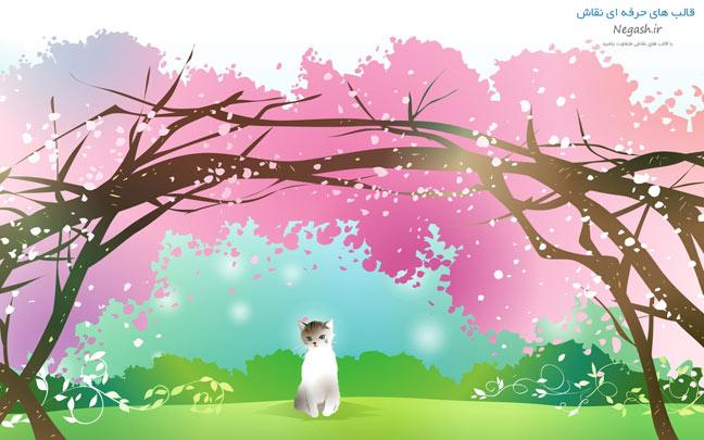 عکس نقاشی شکوفه های گیلاس و گربه ملوس