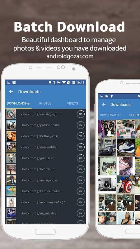 محیط برنامه ذخیره عکس و فیلم اینستاگرام InstaSave for Instagram Premium