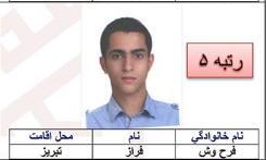 مصاحبه با فراز فرحوش نفر پنجم کنکور سراسری ریاضی 1395 از تبریز