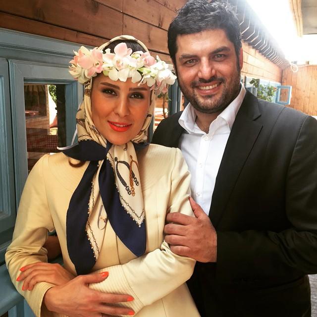 سام درخشانی و همسرش در مراسم عقدشان
