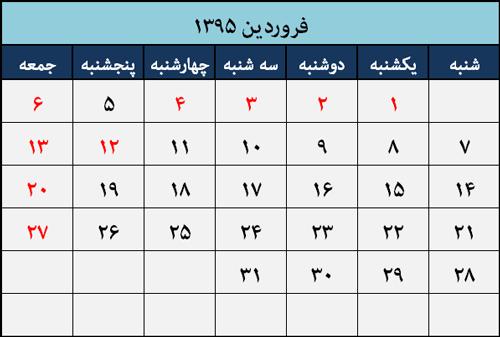 تقویم مناسبت ها و تعطیلات فروردین 1395