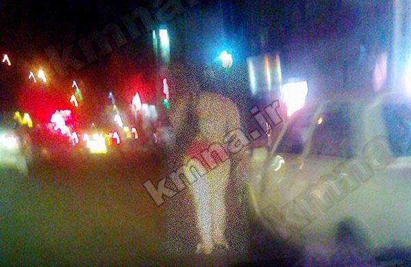 راه رفتن 300 متری دختر برهنه در کرج/ عکس 18+