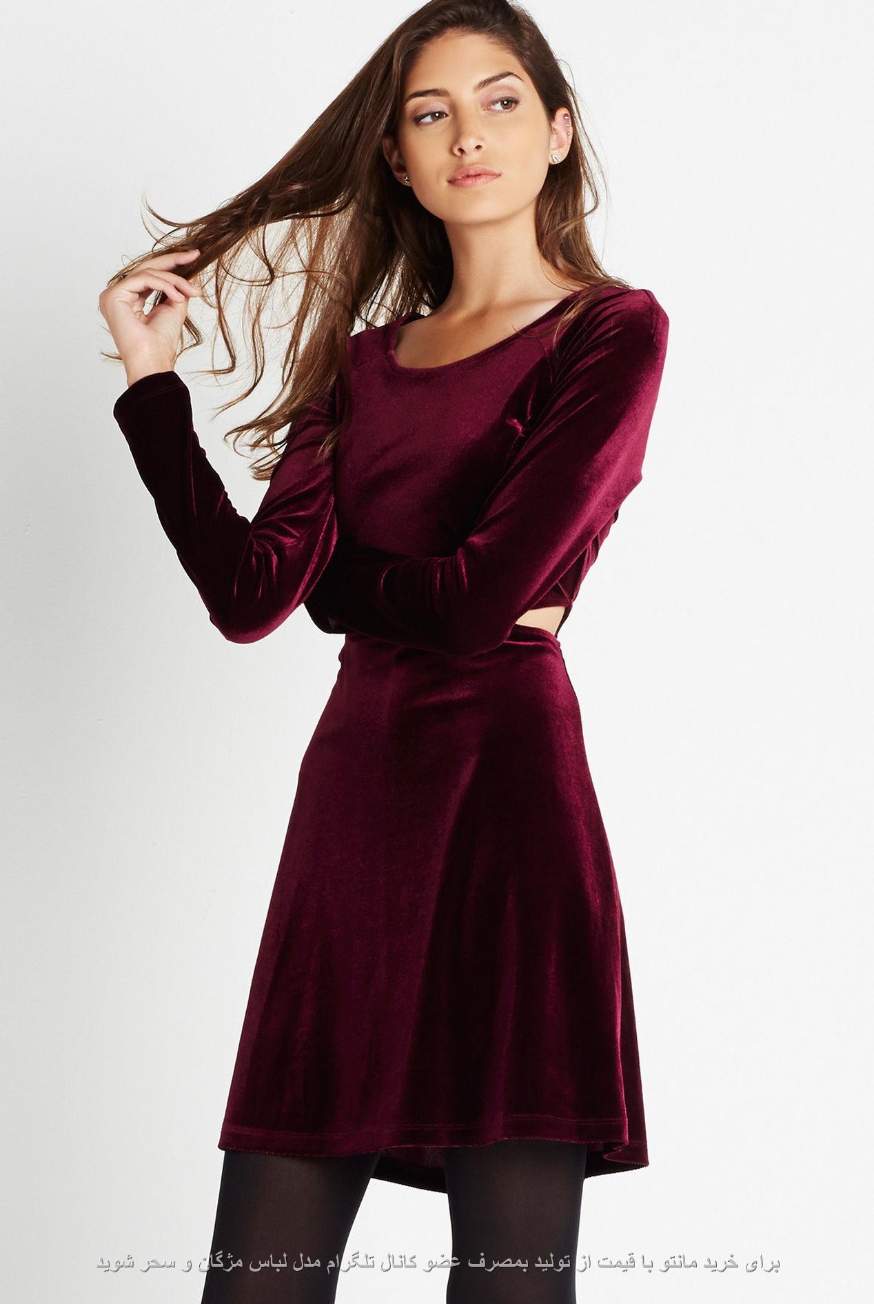 جدیدترین مدل لباس مخمل مجلسی کوتاه با رنگ زرشکی