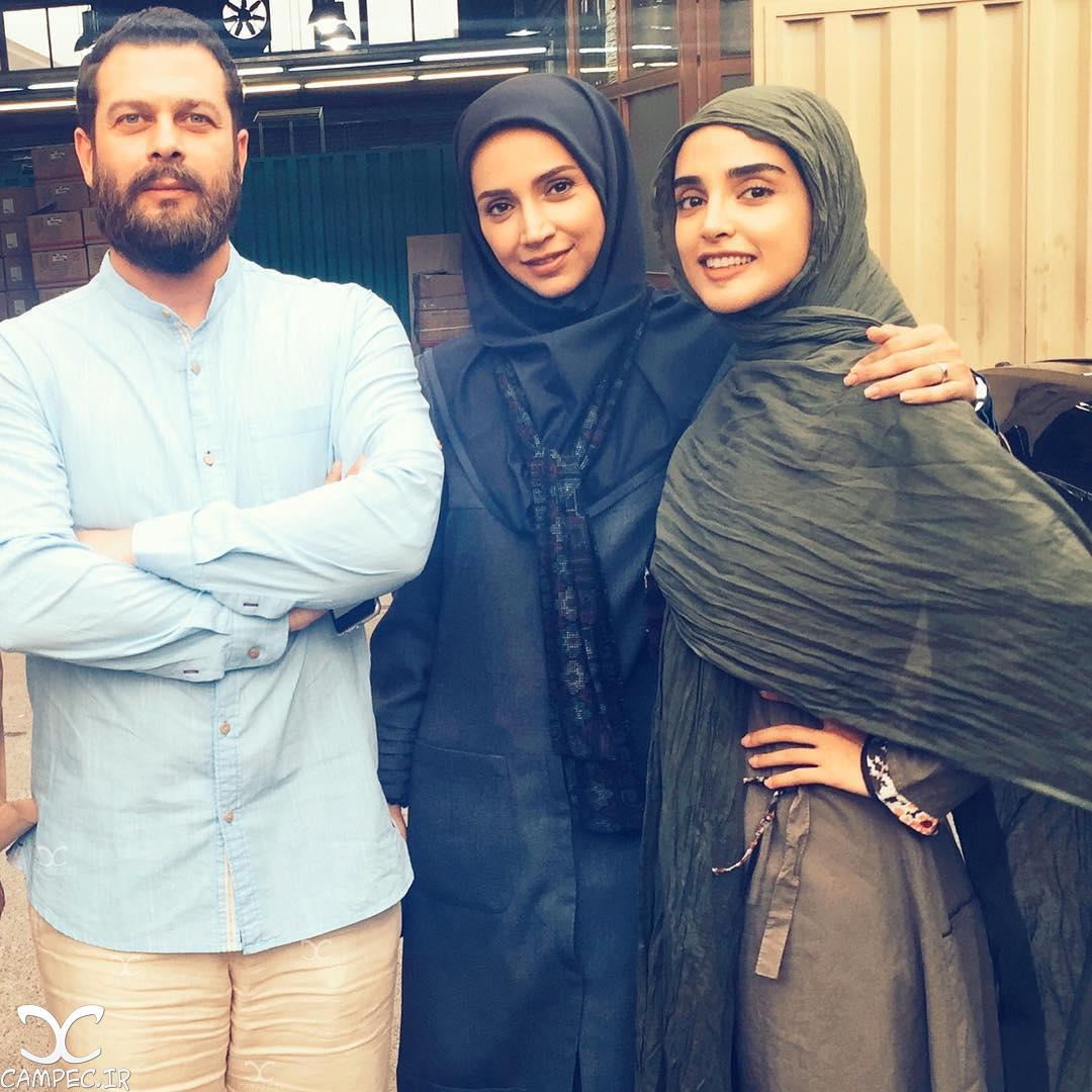 شبنم قلی خانی و الهه حصاری و پژمان بازغی بازیگران سریال هشت و نیم دقیقه