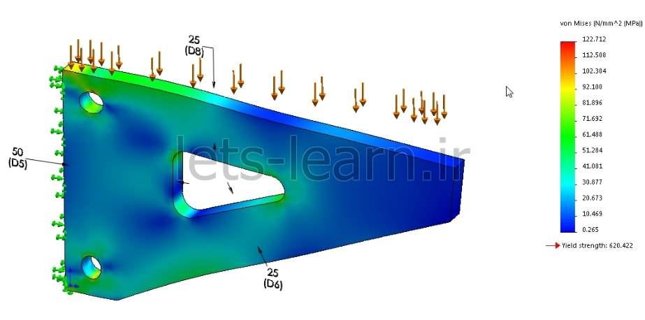 بهینه سازی طرح توسط Design Study در قسمت شبیه ساز SolidWorks
