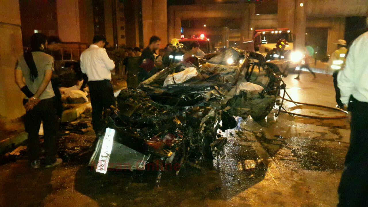 مثبت شدن تست الکل تنها بازمانده حادثه تصادف خودروي 4 دختر و پسر در اتوبان بابايي