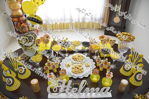 کندی بار میز تنقلات جشن تولد دو سالگی تم زنبوری حلما گلی kandi_bar_bee_birthday_brrz_party_helma