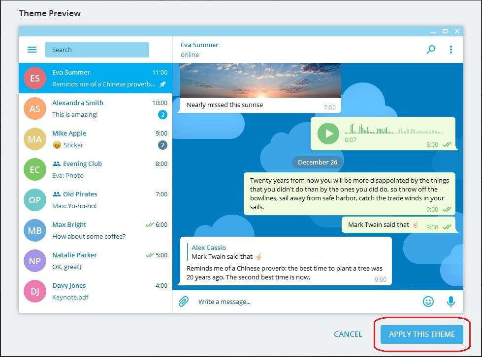 تم های تلگرام