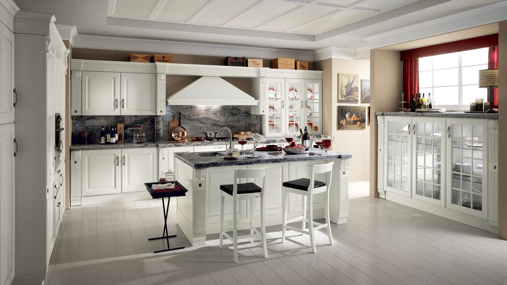 کابینت کلاسیک آشپزخانه رنگ سفید