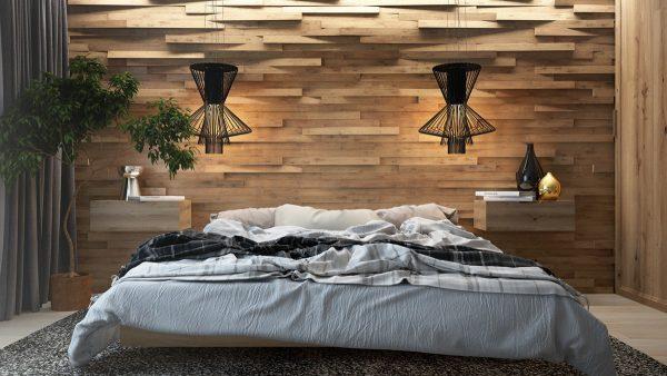 چوب کاری و طرح های زیبا روی دیوار اتاق خواب
