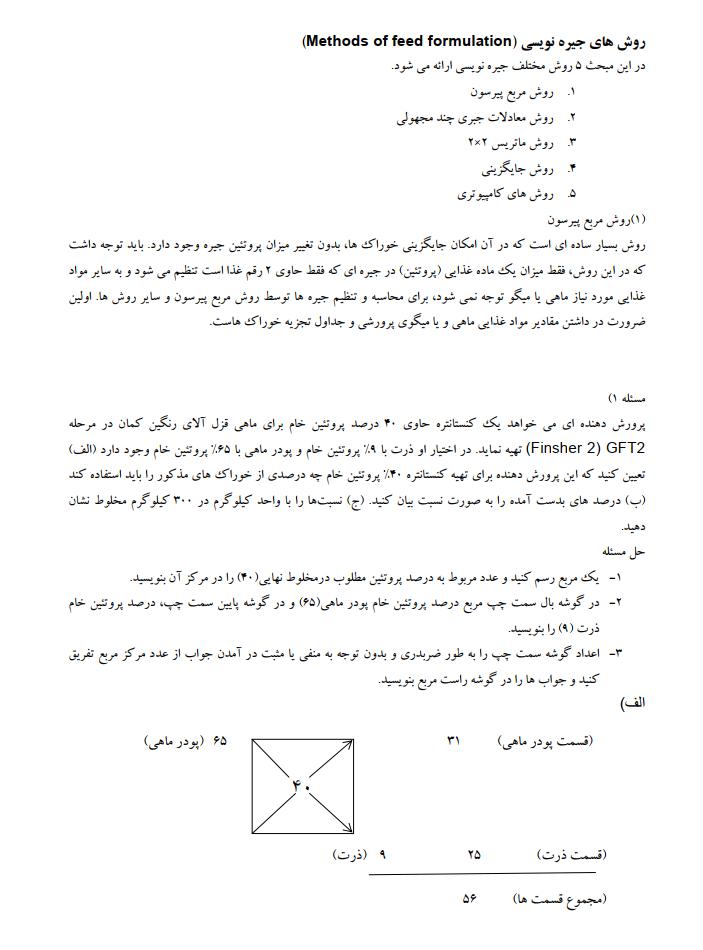 دانلود جزوه رایگان کتاب اصول جیره نویسی و تغذیه آبزیان پرورشی pdf - نمونه سوالات تستی